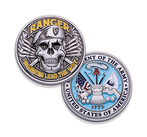 Army Ranger Challenge Coin! Amazing 3D US Army Skull Custom Coin! Designed by A Military Veteran! Officially Licensed Army Military Coin! 1.75'