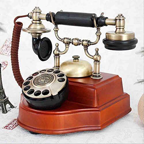 MEICHEN Massivholz Vintage Antik Telefon Drehscheibe Zifferblatt Europäischen Retro-Festnetz,Red