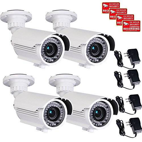 VideoSecu 4 Pack Built-in SONY Effio CCD Home CCTV Video IR Zoom Bullet Security Surveillance Cameras 700 TVL Outdoor Day Night Vision 4-9mm Zoom Focus Lens 42 Infrared Leds for DVR Surveillance System with Power Supplies and Security Warning Decals CMN