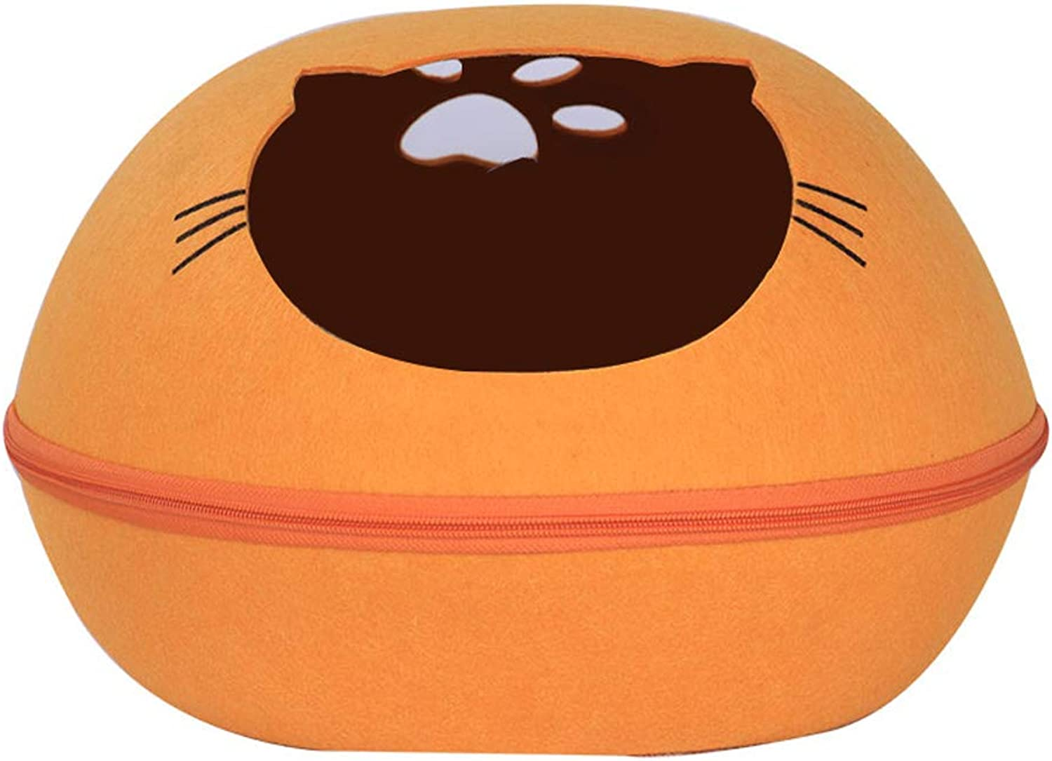 LITING Cat Litter Four Seasons Universal Removable and Washable Cat House Kennel Pet Nest Autumn and Winter SemiClosed Cat Bed Supplies (color   orange)