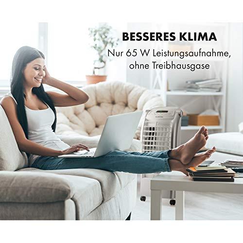 Klarstein Maxfresh WH Luftkühler-Ventilator-Kombination mit drei Leistungsstufen • niedriger Energieverbrauch • Bodenrollen • Lammellen-Schwenkfunktion • inkl. Fernbedienung und zwei Eis-Packs • weiß - 2