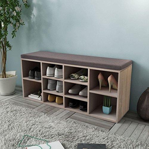 UnfadeMemory 2 en 1 Mueble Zapatero/Banco con 10 Compartimentos,Gabinete de Zapatos,Organizador de Zapatos,Decoración de Hogar,103x30x48cm (Roble)