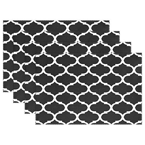 N/A Durable Place Mat,Heat-Resistant Table Mats,White Black Moroccan Trellis Lattice Non Slip Placemats Washable Easy To Clean Kitchen Placemats For Dining Table 30X45Cm Set Of 6