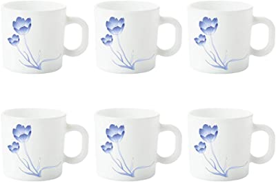 Buy Larah By Borosil Mimosa Opalware Mug Set 6 Pieces White Online At Low Prices In India Amazon In