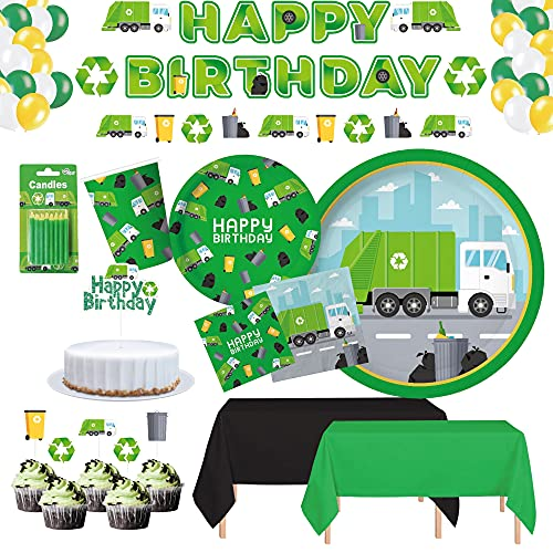 Serves 30 Complete Garbage Truck Party Supplies Includes Plates,Napkins,Table Covers,Balloons, Happy Birthday Banner,Cake Topper, Candles, Cup Cake Toppers Ideal for Garbage Truck Birthday Theme Party