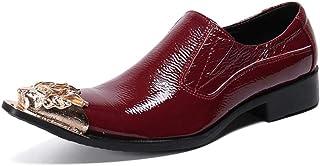 YOWAX Zapatos de los Hombres Zapatos de Cuero de la Cabeza de Metal para Formal, Casual, Oficina, Fiesta, Zapatos de Negoc...