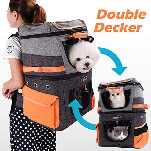 ibiyaya Haustier-Rucksack mit Zwei Fächern für kleine Katzen und Hunde, ideal für Outdoor-Aktivitäten, Wandern, Camping-Ausflüge.