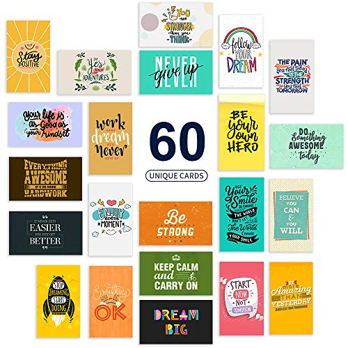 Perfin 60 Motivational Cards, Unique Inspirational Greeting Cards and Kindness Cards Shows Gratitude and Appreciation, Encouragement & Appreciation Mini Note Cards (Business Card Size, Blank Back)