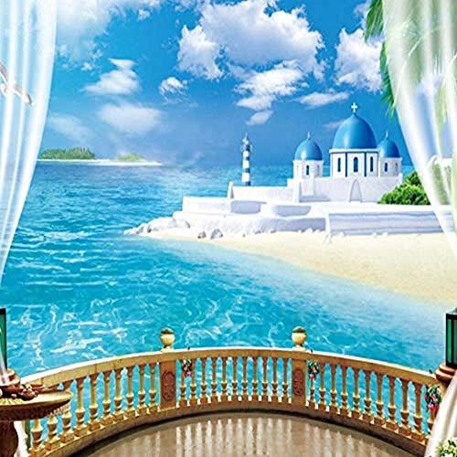 Wandbild Tapete Stereoskopisches Fenster Ocean View Wandmalerei Tapete Wohnzimmer Sofa 3D Wanddekoration fototapete 3d Tapete effekt Vlies wandbild Schlafzimmer-200cm×140cm