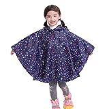 Gagacity Riutilizzabile Poncho Impermeabile Bambini Incappucciati Pioggia Giacca Leggero Bambino per Unisex Stella Blu/S