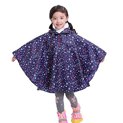 Gagacity Riutilizzabile Poncho Impermeabile Bambini Incappucciati Pioggia Giacca Leggero Bambino per Unisex Stella Blu/L