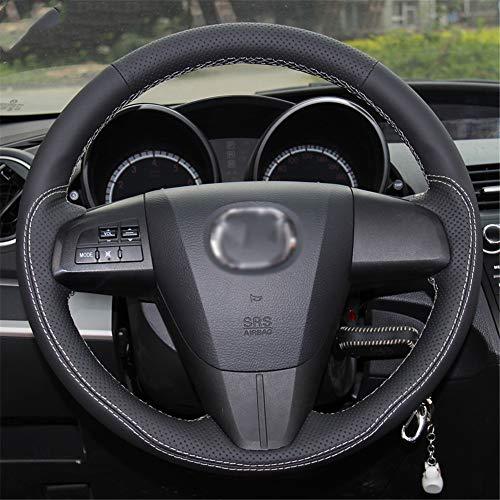 LUOERPI Handgenähtes schwarzes echtes Leder weißes Gewinde Auto Lenkradbezug, für Mazda 3 Axela 2008-2013, für Mazda CX-7 CX7, für Mazda 5