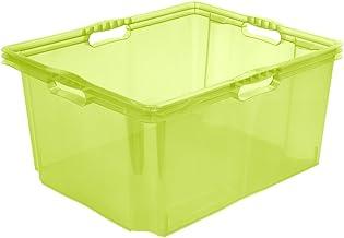 keeeper Pudełko do przechowywania z wbudowanymi uchwytami, rozmiar: XXL, 52 x 43 x 26 cm, 44 l, Francja, zielony przezrocz...