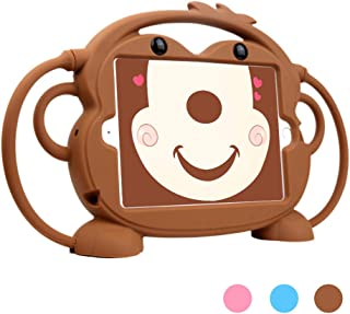 iPad Mini 5 4 3 2 1 Case for Kids, Dwopar Protective Shockproof Silicone Case with Handles to Carry or Hang - Durable Cover with Stand for Apple ipad Mini Tablet - Brown