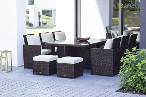 essella Vienna - Set da pranzo con 6 sedie in polyrattan, colore: Marrone bicolore con vimini extra resistente, 1,4 mm
