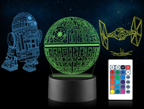 Xpassion 3D LED Star Wars Night Light Illusion Lamp Three Pattern and 16 Color Change Decor Lamp for Kids and Room Room Decor