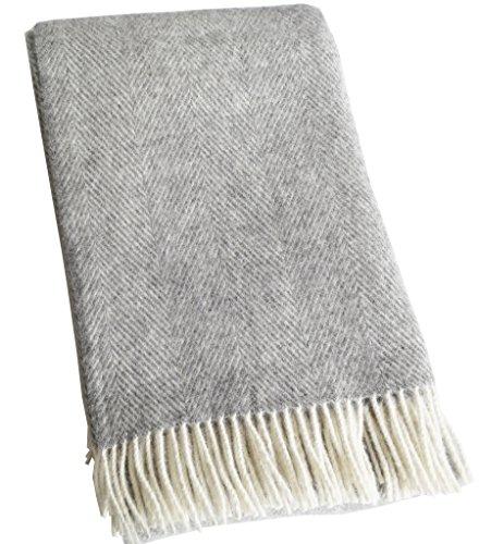 Lange creme-graue Fischgrat Wolldecke aus 100% neuseeländischer Schurwolle Ökotex 100, ca 220x130cm mit Fransen