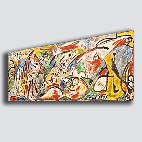 Quadro Moderno Soggiorno POLLOCK Jackson Figura della Furia - RIPRODUZIONE STAMPA SU TELA Quadri Moderni Arte Astratto Cucina salotto Camera da letto printerland.it (50x100)