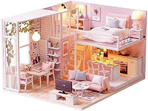 bajo precio XL68chao Casa de muñecas Modelo Modelo Modelo DIY Muebles de casa de muñecas en Miniatura Cubierta de Polvo de casa de muñecas de Madera Casa de luz para muñecas Juguetes para Niños  descuento de bajo precio