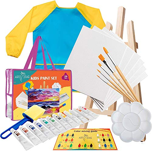 Kids Art Set for Boys and Girls | Acrylic Kids Paint Set for Canvas Painting with Easel, Brushes Kit, Acrylic Paints, Palette, Sponge Brush, Storage Bag, Washable Smock for Artist Children 3-10 Years
