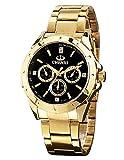 ShoppeWatch Men's Gold Watch IP Plated Chunky Metal Bracelet Big Black Dial Reloj de Oro Dorado Hombres SWCX019A-113