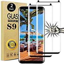 【2 Pack】Galaxy S9 Screen Protector, Full Coverage Bubble-Free 9H Scratch-Resistant HD Clear 3D Curved Dot Matrix Tempered Glass Screen Protector for Samsung S9