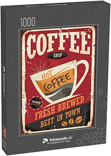 Puzzle 1000 Teile Coffee Shop Retro Zinnzeichen Vektorillustration auf rotem Hintergrund - Klassische Puzzle mit edler Motiv-Schachtel, Fotopuzzle-Kollektion 'Vintage-Schilder'