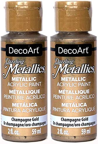 2 Pack DecoArt Dazzling Metallics Acrylic Colors Champagne Gold 2 Ounces Each product image