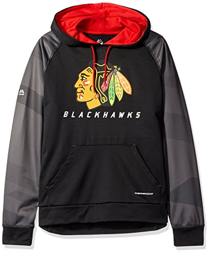 VF LSG NHL Chicago Blackhawks Herren-Kapuzen-Fleece, Penalty Shot Programm, Größe S, Schwarz/Athletic Red