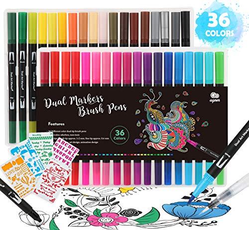 Agoer Premium Kunst Filzstift Set für Bullet Journal - 36er Pack Dual Brush Pen Marker Fineliner mit 5 Schablonen+ 1 Wassertankpinsel für Manga, Kalligraphie, Malen
