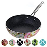 Decorative Non Stick Frying Pans Wok - Deep Skillets Induction Ready Hard Anodized Granite Marble...
