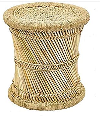 India Handicraft Bamboo and R0PE Styles Stool/MUDDA for Outdoor Indoor/Office/Desing in Home Kitchen/Natural Bamboo MUDDA