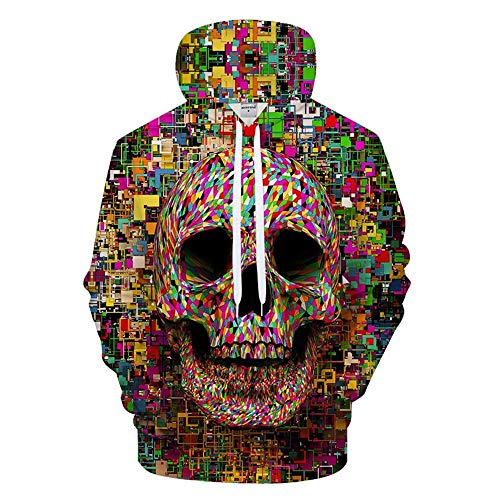 Men Pullover 3D Skull Stitching Print Hoodies Club Casual Street Teenager Sweatshirts Youth Sport,3X-Large