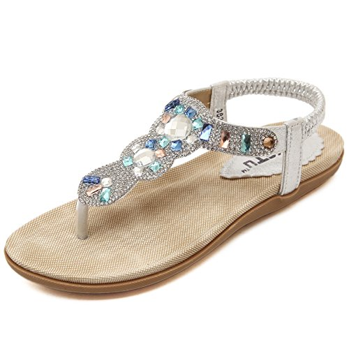 Life Palaza Women's Wedding Sandals Crystal with Rhinestone Beaded Bohemian Dress Flip-Flop Gladiator Shoes Plus-Size (44 M EU/13 B(M) US, Diamond Silver)
