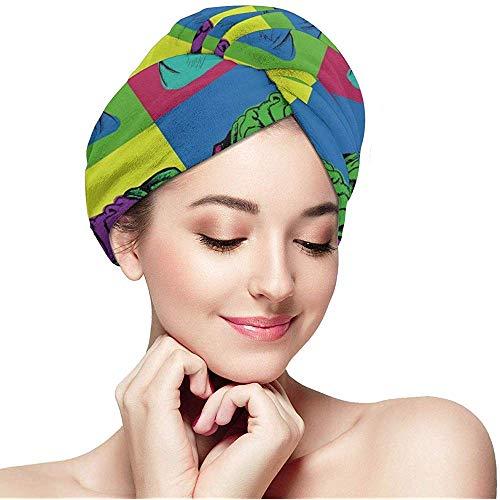 mahada Vrouwen Meisje Kleurrijke Pug Hond Haar Handdoek Anti Frizz Ultra Absorbent Droog Haar Hoed Snelle Droge Douche Haar Turban voor het drogen Nat Haar