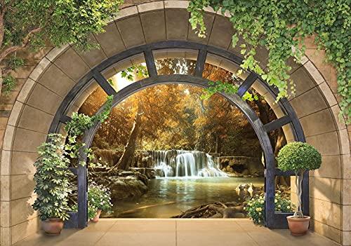 Forwall Fototapete 3D Fenster Wasserfall Wald Natur Ausblick Wohnzimmer Schlafzimmer Vlies Tapete Wandtapete UV-Beständig Hohe Auflösung Montagefertig (11553, V4 (254x184 cm) 2 Bahnen)