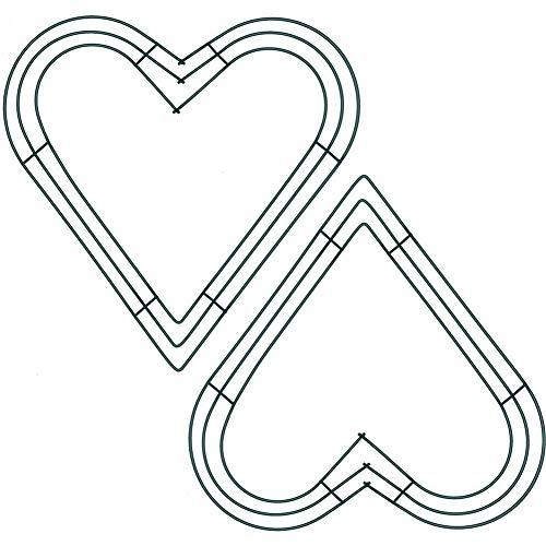 Ghirlanda di fiori con cornice a cuore in filo metallico, anelli in filo metallico per Capodanno, San Valentino, decorazione per feste, confezione da 2