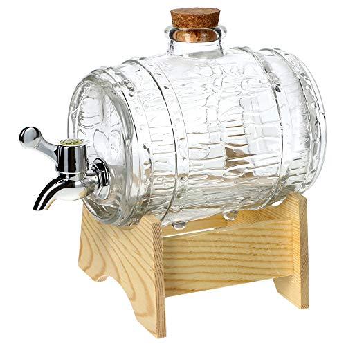 KADAX, botte con rubinetto, dispenser per bevande a forma di botte in vetro, con rubinetto, dispenser trasparente con base in legno, ideale per whisky, brandy, succhi di frutta, limonata (1L)