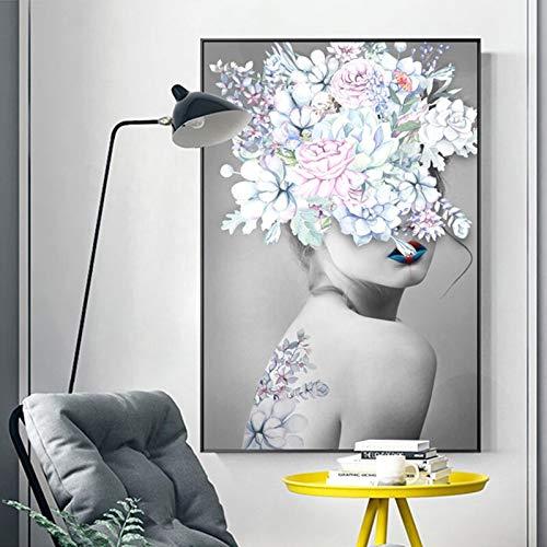 ganlanshu Kunst Mädchen Blumen Poster nordischen Stil Wandbild Wohnzimmer Moderne Leinwand Ölgemälde Home Dekoration rahmenlose Malerei 50cmX75cm