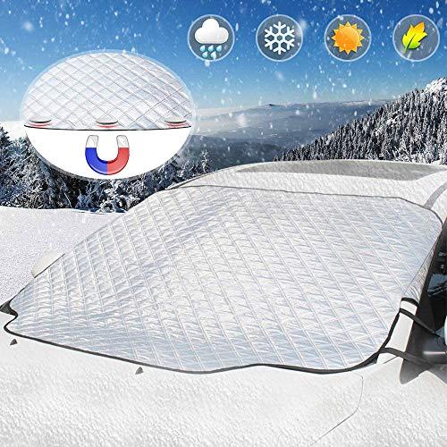 AODOOR Protezione per Parabrezza, Copertura per Parabrezza Auto Magnetic Ice Protection Anti UV Antighiaccio Telo Antipioggia Copri Parabrezza Adatto la Maggior Parte dei Veicoli (183 x 116cm)