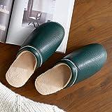 Zapatillas De Casa Mujer Pantuflas De Lujo,Zapatillas de algodón de Suela Gruesa cálida de Invierno, Zapatos de Cuero Impermeables de tacón alto-37-38_Verde,Chanclas algodón Pantuflas