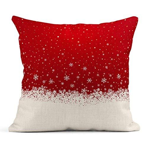 Kinhevao Cojín Invierno Otoño Copo de Nieve Nieve Estrellas Rojo Navidad Cartelera Blanco Vacaciones Lino Cojín Hogar Decorativo Almohada