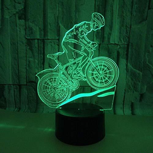 Mountainbike nachtlampje, 3D-nachtlampje, ledverlichting, flash, USB-interface, touch-afstandsbediening, huis, decoratie voor kinderkamer, vakantie, kerstcadeau
