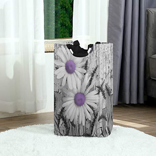 ZOANEN Wäschesack,Lila Grau Weiß Gänseblümchen Blumen Schmetterling Schwarz Fuchsschwanz Gras,Großer faltbarer Wäschekorb,zusammenklappbarer Wäschekorb,zusammenklappbarer Waschvorratsbehälter
