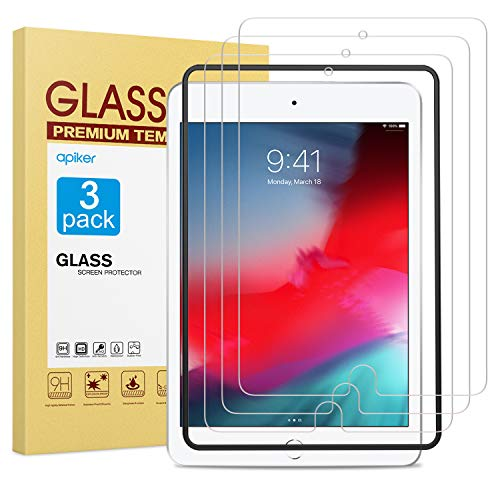 [3-Pack] Apiker Screen Protector for iPad Mini 5 2019 / iPad Mini 4, 9H Hardness Tempered Glass Screen Protector with Alignment Frame/Scratch Resistant for iPad Mini 5/4, 9.7 Inch