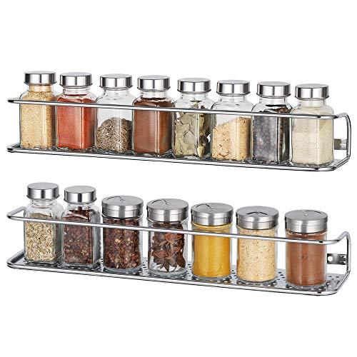 NEX Spice Racks Wall Mounted Spice Storage Organizer, Chrome - 2 Pack