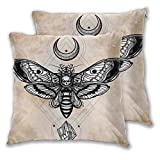 FULIYA Fundas de almohada decorativas de 2 piezas, diseño de calavera espiritual con luna y piedra, ideal para cama completa, color amarillo, 45,7 x 45,7 cm