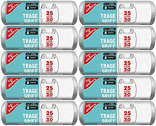 Gut & Günstig Bolsas de basura con asa, 25 litros, 30 unidades por rollo, resistentes a desgarros y a prueba de líquidos, producto y embalaje reciclables (10 unidades)