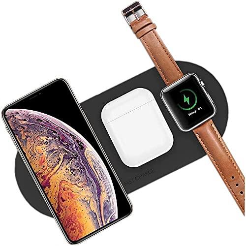 TCCOC Almohadilla de Carga inalámbrica, Cargador inalámbrico magnético 3 en 1 Plegable y Giratorio con luz Nocturna, Compatible con iPhone 12 / Apple Watch/airpods.