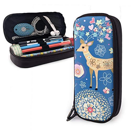 OUYouDeFangA Bolsa de almacenamiento de piel sintética con diseño de ciervo y flor del bosque, bolsa de almacenamiento portátil para estudiantes, papelería, oficina, carteras con cremallera, bolsa multifunción para maquillaje